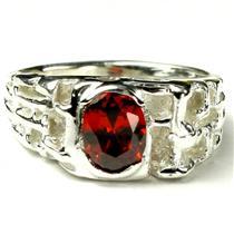 SR197, Garnet CZ, 925 Sterling Silver Men's Ring