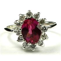 SR235, Crimson Fire Topaz, 925 Sterling Silver Ladies Cluster Ring