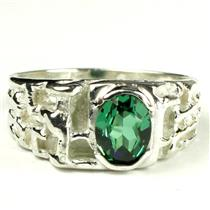 SR197, Russian Nanocrystal Emerald, 925 Sterling Silver Men's Ring