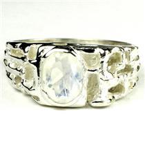 SR197, Rainbow Moonstone, 925 Sterling Silver Men's Ring