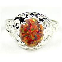 Created Red/Brown Opal, 925 Sterling Silver Ring, SR004