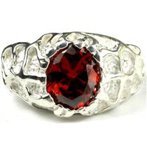 SR168, Garnet CZ, 925 Sterling Silver Men's Ring