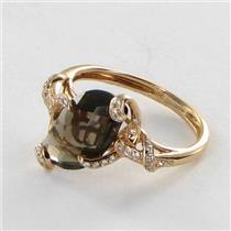 Bellarri Ring Sz 7 54 Visions 0.12cts Diamonds 3.85cts Smoky Quartz 18k Rose Gold NEW $1280