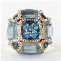 Bellarri Ring Sz 7 54 Valentina 0.25cts Diamond Blue London Blue Topaz 18k Rose Gold New $5150 ***Ne