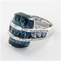 Bellarri Ring Sz 7 54 Tango 0.38cts Diamond 23.4cts London Blue Topaz Iolite 18k WhiteGold ***New Wi