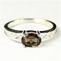 SR362, Smoky Quartz, 925 Sterling Silver Ladies Ring
