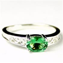 SR362, Russian Nanocrystal Emerald, 925 Stereling Silver Ladies Ring