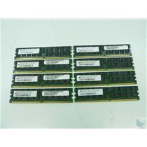Lot of 8 Micron 2GB 2Rx4 PC2-5300P-555-12-J0 MT36HTF25672PY-667D1 ECC Memory