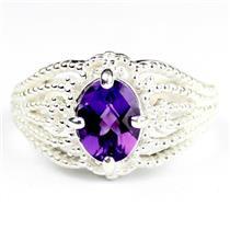 SR365, Amethyst, 925 Sterling Silver Beaded Ladies Ring
