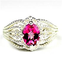 SR365, Pure Pink Topaz, 925 Sterling Silver Ladies Beaded Ring