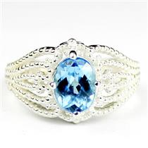 SR365, Swiss Blue Topaz, 925 Sterling Silver Ladies Ring