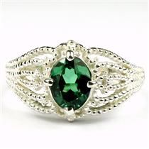 SR365, Russian Nanocrystal Emerald, 925 Sterling Silver Ring