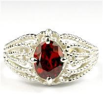 SR365, Garnet CZ, 925 Sterling Silver Ladies Ring