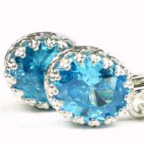 SE109, Glacier Blue CZ, 925 Sterling Silver Crown Bezel Leverback Earrings