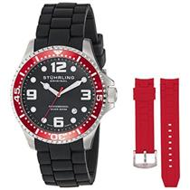 Stuhrling  675.02 675 02 SET Aquadiver Swiss Quartz Red Accented Mens Watch Set