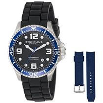 Stuhrling  675.01 675 01 SET Aquadiver Swiss Quartz Blue Accented Mens Watch Set