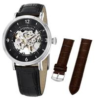 Stuhrling  647.01SET 647 01 Legacy Automatic Skeleton Leather Mens Watch Set