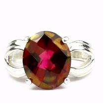 SR361, Crimson Fire Topaz, 925 Sterling Siver Ring