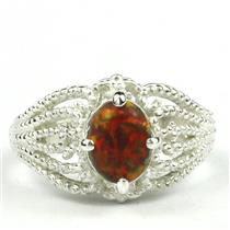 SR365, Created Red/Brown Opal, 925 Sterling Silver Ring