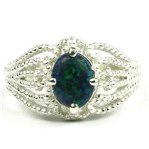 SR365, Created Blue Green Opal, 925 Sterling Silver Ring