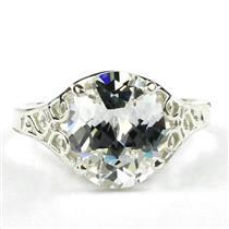 SR057, Silver Topaz, 925 Sterling Silver Ring