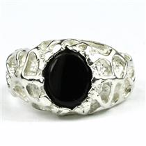 SR168, Black Onyx, 925 Sterling Silver Men's Nugget Ring