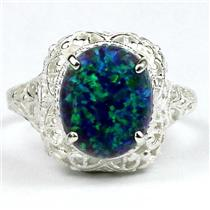 SR009, Created Blue Green Opal, 925 Sterling Silver Antique Style Filigree Ring