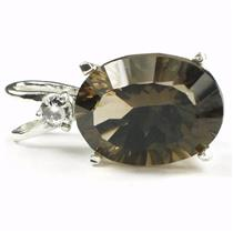 SP018, Smoky Quartz, 925 Sterling Silver Pendant