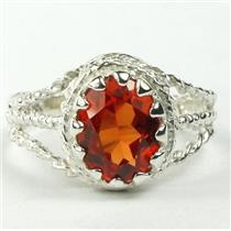 Created Padparadsha Sapphire, 925 Silver Ring, SR070