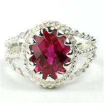 Created Ruby, 925 Sterling Silver Ring, SR070