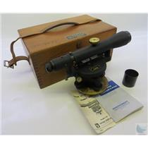 """Vintage Berger Model 150 12"""" Heavy Duty Dumpy Level W/ Original Wood Case"""