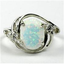 SR021,Created White Opal, 925 Sterling Silver Ring