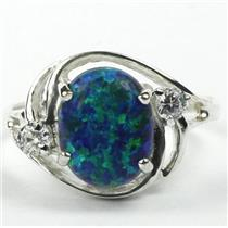 SR021, Created Blue Green Opal, 925 Sterling Silver Ring