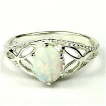 SR137, Created White Opal, 925 Sterling Silver Ring