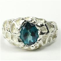 SR168, Paraiba Topaz, 925 Sterling Silver Men's Nugget Ring