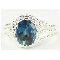London Blue Topaz, 925 Sterling Silver Ring, SR070