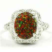 SR009,  Created Red Brown Opal, 925 Sterling Silver Antique Style Filigree Ring