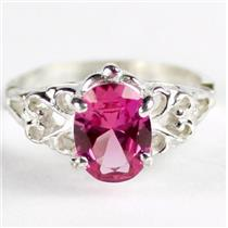 SR302, Created Pink Sapphire, 925 Sterling Silver Ring