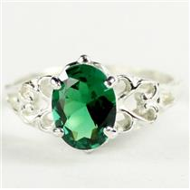 SR302, Russian Nanocrystal Emerald, 925 Sterling Silver Ring