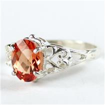 SR302, Created Padparadsha Sapphire, 925 Sterling Silver Ring