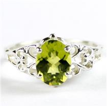 SR302, Peridot, 925 Sterling Silver Ladies Ring