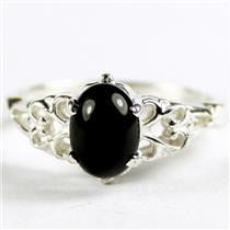 SR302, Black Onyx, 925 Sterling Silver Ladies Ring