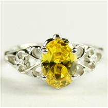 SR302, Golden Yellow CZ, 925 Sterling Silver Ladies Ring