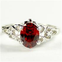 SR302, Garnet CZ, 925 Sterling Silver Ring