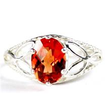 SR137, Created Padparadsha Sapphire, 925 Silver Ring