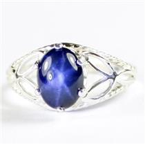 SR137, Blue Star Sapphire, 925 Sterling Silver Ring