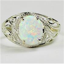 SR083, Created White Opal, 925 Sterling Silver Ring