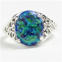 SR057, Created Blue Green Opal, 925 Sterling Silver Ladies Ring