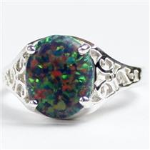 SR057, Created Black Opal, 925 Sterling Silver Ladies Ring