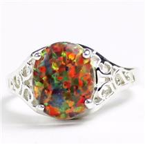 SR057, Created Red Brown Opal, 925 Sterling Silver Ladies Ring